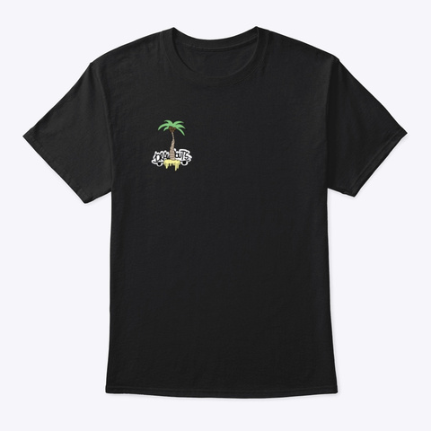 Drawpouts Palm Tree Black T-Shirt Front