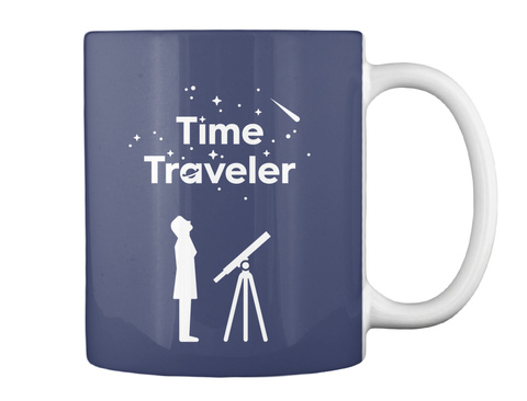 Time Traveler Woman Mug [Int] #Sfsf Dark Navy Mug Back