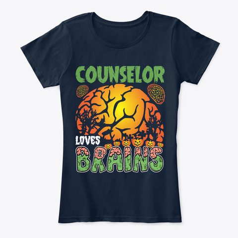 Counselor Love Brains Tshirts Gifts Idea New Navy T-Shirt Front