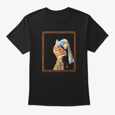 Cat With Pearl Earring Art Parody Funny Black T-Shirt Front