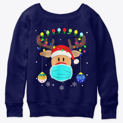 Reindeer Rudolph Christmas Mask Cute Tee Navy  T-Shirt Front