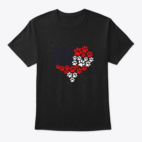 Cute Paw Heart American Flag Dog Owner Black T-Shirt Front