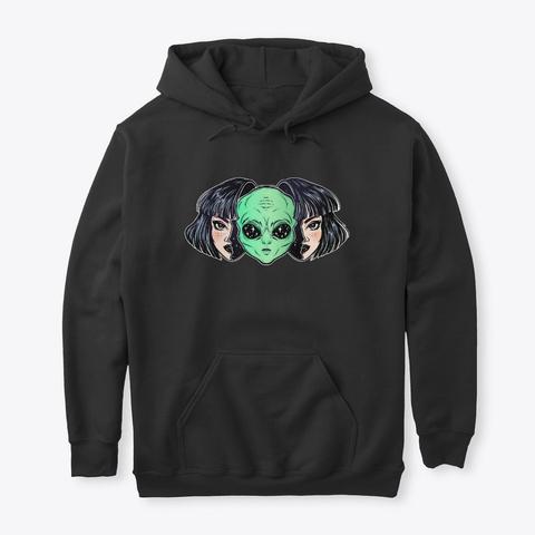 Alien Girl Hoodie Black T-Shirt Front