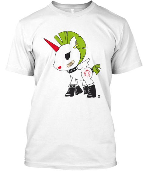 Unicorn Licorne  Punky Womens Tee Shirts White T-Shirt Front