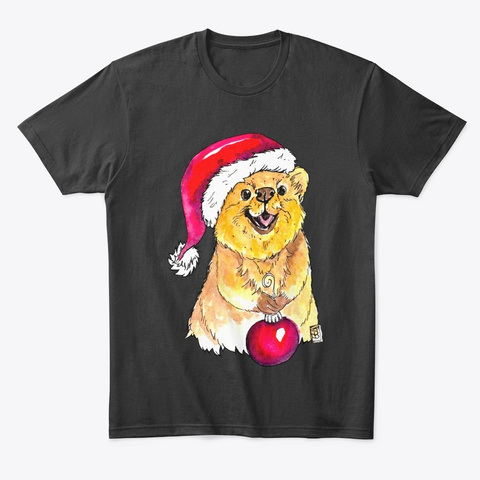 Happy Quokka Christmas Black T-Shirt Front