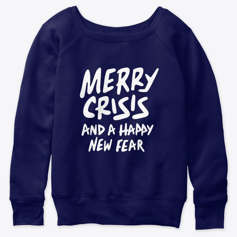 Funny Christmas Novelty Gifts Crisis Navy  T-Shirt Front