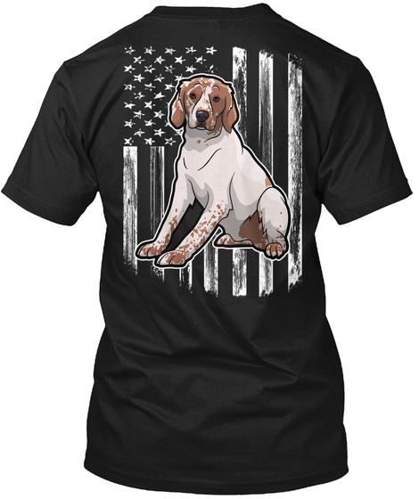 American Flag Brittany Spaniel 4th July Black T-Shirt Back