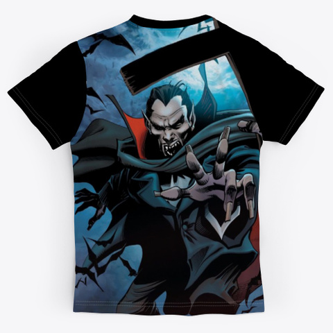 Awesome Vampire Shirt For Halloween Day Black T-Shirt Back