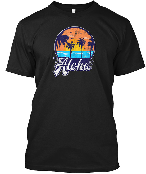 Aloha Tropical Beach Palm Trees Tank Top Black T-Shirt Front