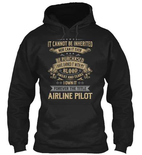 Airline Pilot   My Blood Black T-Shirt Front