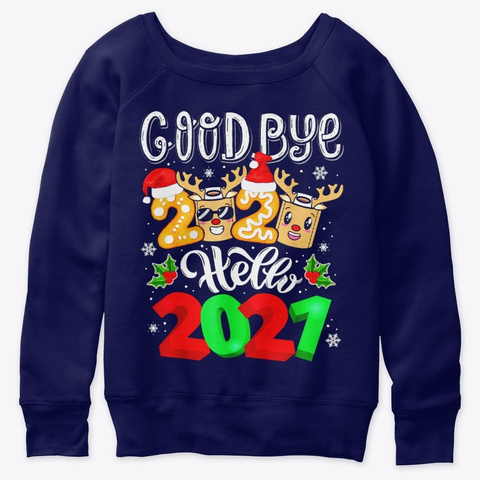 2021 Happy New Year Reindeer Family Xmas Navy  T-Shirt Front