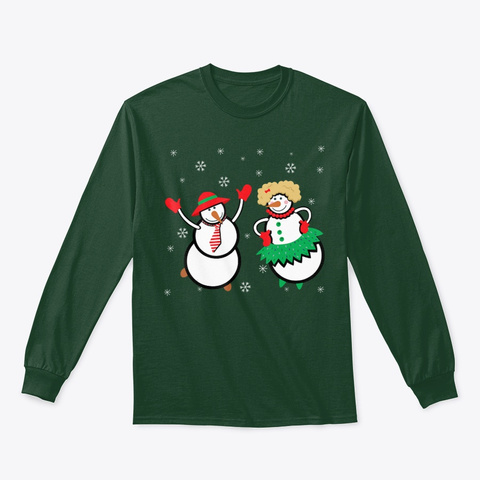 Merry Christmas Snowman Family T Shirt Forest Green T-Shirt Front