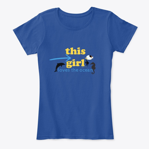 This Girl Loves The Ocean Deep Royal  T-Shirt Front
