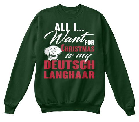 Love Deutsch Langhaar Ugly Christmas Swe Deep Forest  T-Shirt Front