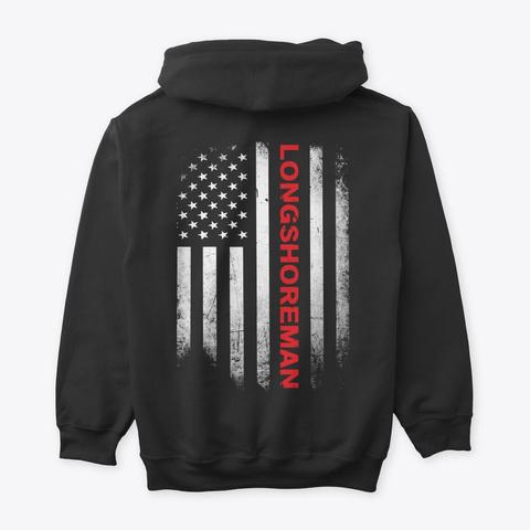 Longshoreman Us Flag Shirt Black T-Shirt Back