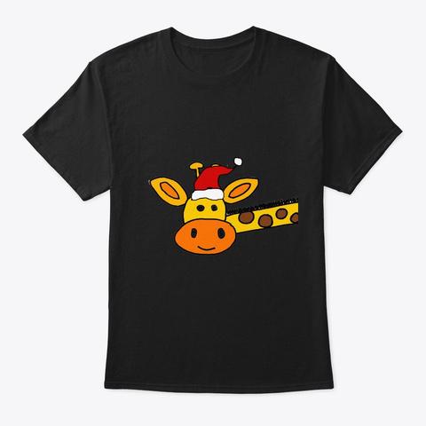 Cute Giraffe Christmas Cartoon Black T-Shirt Front
