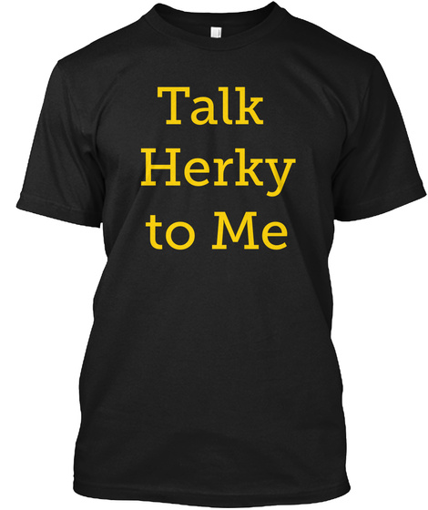 Talk Herky To Me Black T-Shirt Front