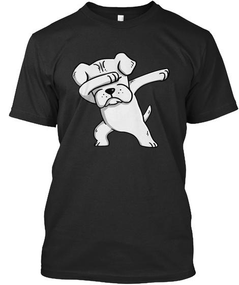 Boxer Dog T Shirt White Boxer Dabbing Black T-Shirt Front