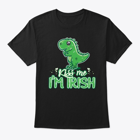 Funny St Patricks Day Dino Print  Black T-Shirt Front