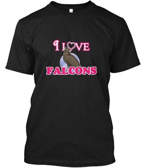 I Love Falcons Black T-Shirt Front
