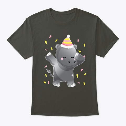 Dabbing Party Hippo Birthday Dab Smoke Gray T-Shirt Front