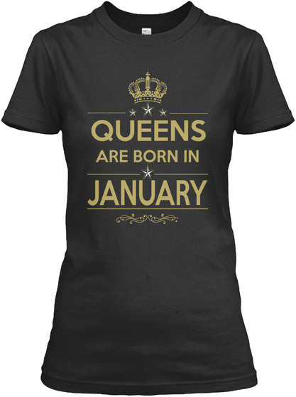 Born In January Black T-Shirt Front