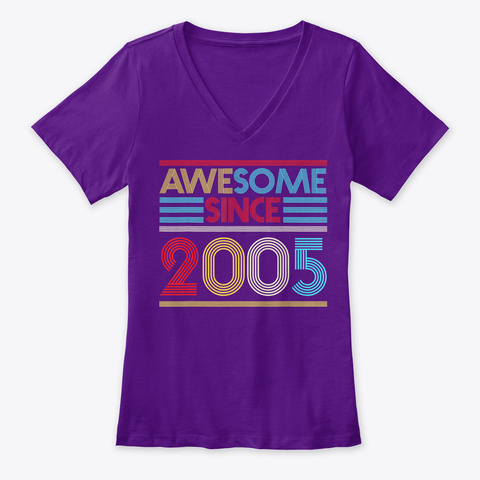 15 Th Birthday Gifts Awesome Since Team Purple  T-Shirt Front