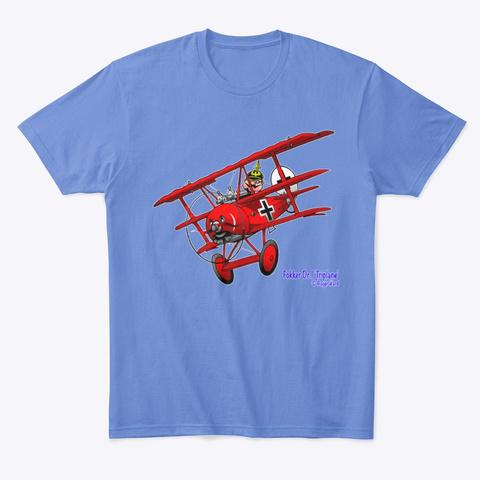 Fokker Dr.1 Cartoon Heathered Royal  T-Shirt Front