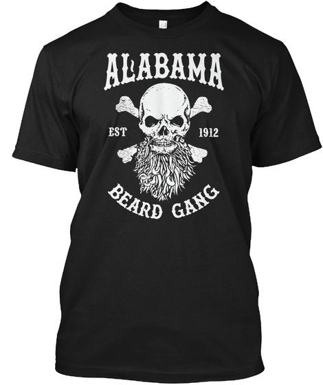Alabama Est 1912 Beard Gang Black T-Shirt Front