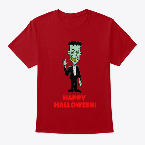 Happy Halloween From Frankie! Deep Red T-Shirt Front