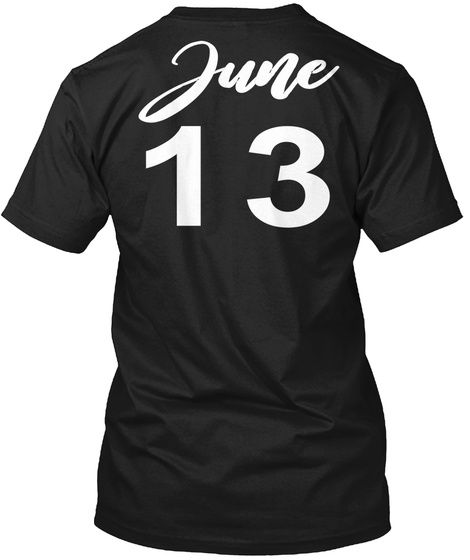 June 13 Gemini Black T-Shirt Back