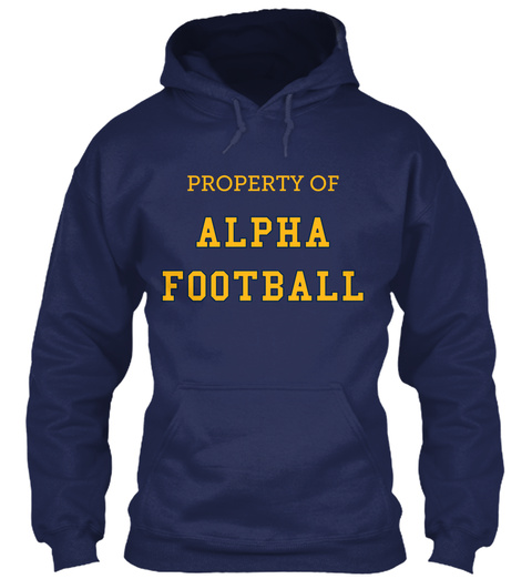 Property Of Alpha Football Romeo #24 #Nerd By Cambria Hebert Navy T-Shirt Front