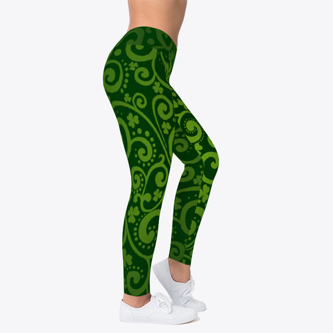 St Patrick's Day Leggings Irish Shamrock Black T-Shirt Right