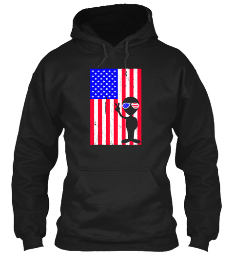 Independence Day Alien July 4th Us Flag  Black Sweatshirt Front