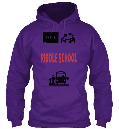 1+2=3 Riddle School Purple T-Shirt Front