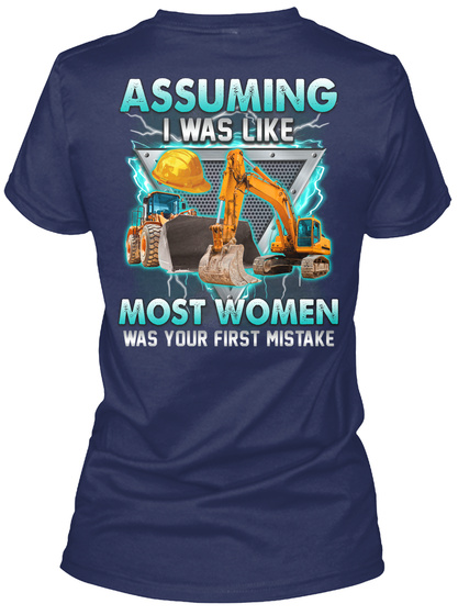 Awesome Operating Engineer Navy T-Shirt Back