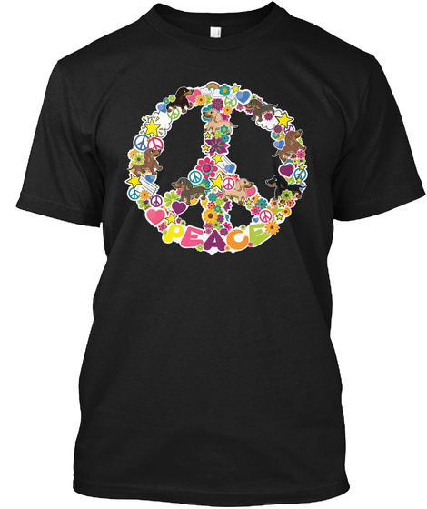 Peace, Love And Dachshunds Black T-Shirt Front