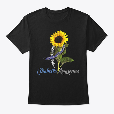 Sunflower Diabetes Sympathy Gift Black T-Shirt Front