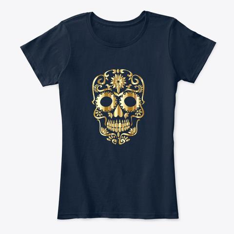 Gold Sugar Skull Design New Navy T-Shirt Front