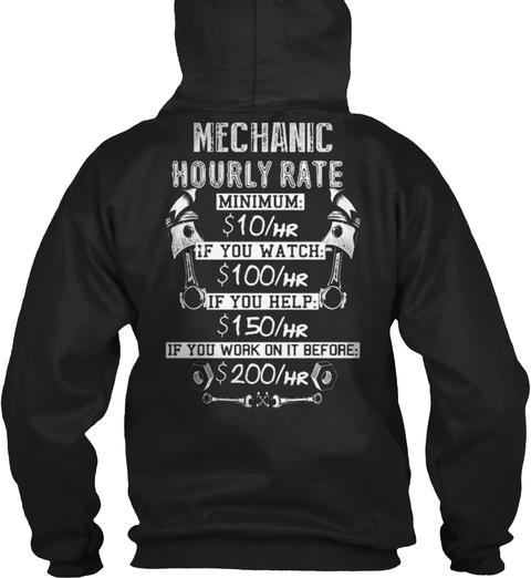 Mechanic Hourly Rate Black T-Shirt Back