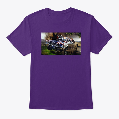 Donald Trump Hot Rod Mustang Purple T-Shirt Front