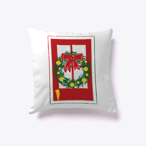 Merry Christmas  Red Door Pillow White T-Shirt Front