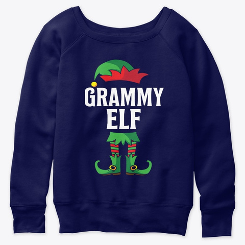 Grammy Elf Costume Xmas Matching Family  Navy  T-Shirt Front