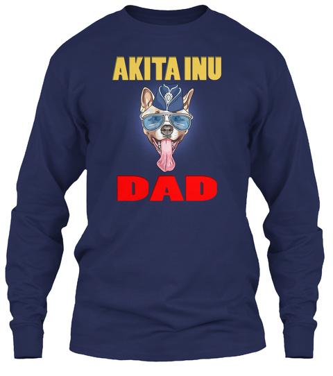 Hipster Dog American Akita Dad Laughs Wi Navy T-Shirt Front