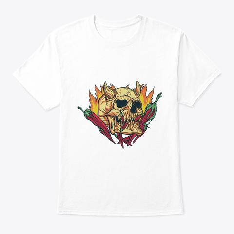 Skull With Horns White T-Shirt Front