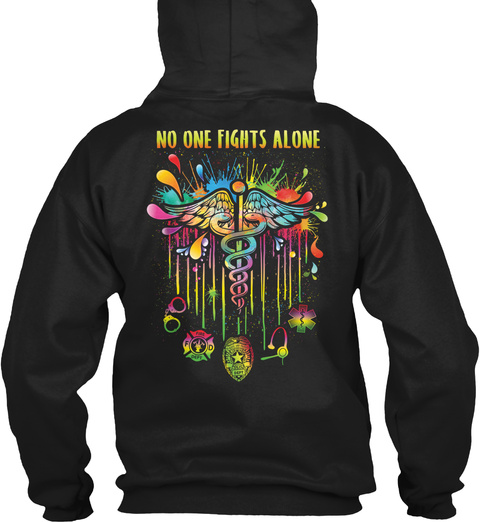 No One Fights Alone Cna Black T-Shirt Back