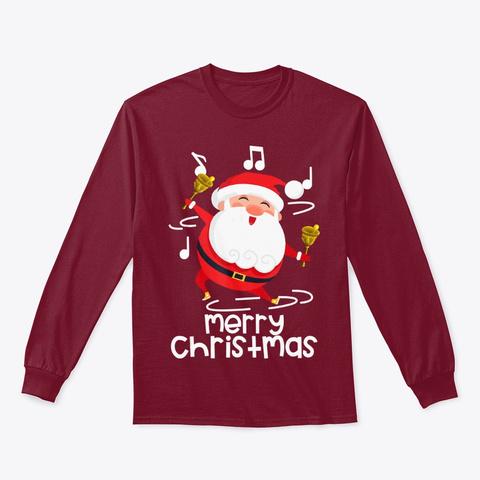 Singing Santa Claus Merry Christmas Cardinal Red T-Shirt Front