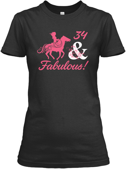 Horse   34 Year Of Being Awesome Black T-Shirt Front