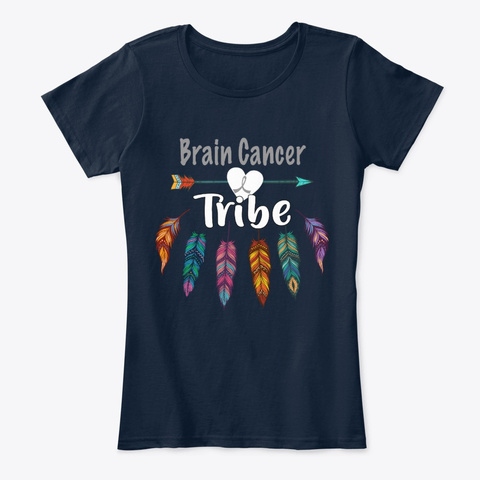 Brain Cancer Tribe Awareness New Navy T-Shirt Front
