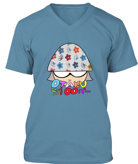 Otaku  Its Awesome Being A Geek Steel Blue T-Shirt Front